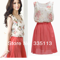 More Sizes!! 2014 Summer Zanzea Fashion Womens Crew Neck Sleeveless Chiffon Sundress Floral Pattern Print Mini Dresses