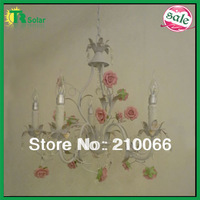 Rose Flower Pendant Lighting Free Shipping light source E14*5 Lights Wrought Iron restaurant lamp bar