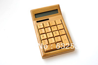 Free Shipping Office General Purpose Solar Calculator Natural Bamboo Wooden