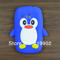 For Samsung Galaxy mini 2 S6500 case, Cartoon Cute 3D Penguin Silicone Soft phone Case Skin Cover + free gift