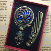 Vintage bronze alloy hollow mirror Comb set  Mirror Wholesale Scenic Hot Products Metal Mirror peacock animals