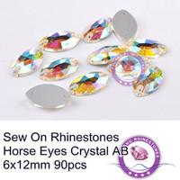 Sew on Rhinestone AB with Holes 6x12mm 7x15mm 9x18mm 13x22mm 17x32mm Fancy Stone Horse Eye