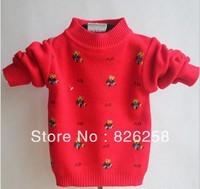Free shipping Small 2013 children's clothing bear print child baby o-neck sweater basic shirt children's clothing  3pcs/1 lot