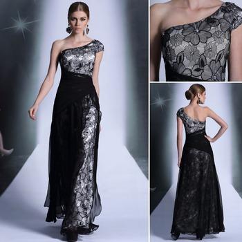 Free shipping one shoulder crystal DORISQUEEN designer branded long evening dresses 2014