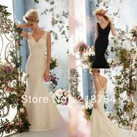 Simple Elegant V-neck Mermaid Black Ivory Lace Oppen Back Fashion Prom Dresses Bridal Gown 2014 New Arrival
