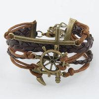 Men Jewelry Handmade Leather Bracelet Rope Vintage Infinity Love Cross Rudder Anchor Charm bracelets bangles For Women Pulseiras