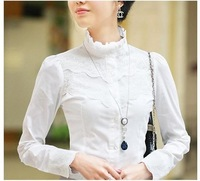 High quality 2014 WOMEN FASHION ELEGANT LACE STAND COLLAR COTTON BLOUSE CASUAL SLIM LONG SLEEVE OL SHIRT S-XL    #C0314