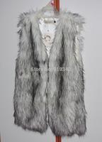 New Womens Fashion V-neck Long Faux Fur Vest GILET Coat Sleeveless White S M L