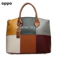 new 2014 oppo brand women's handbag,women leather handbags,Patchwork fashion bag,desigual bag,shoulder bags,2color big promotion
