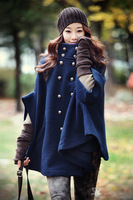 free shipping 2013 South Korea korean winter blue double-breasted bat sleeve cloak coat