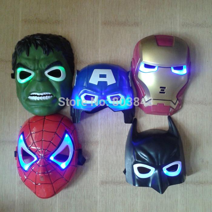 5pcs/lot New The Hulk Captain America Batman Spiderman Ironman LED Glowing Party Mask Birthday Halloween Boy Gift(China (Mainland))