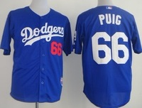 Free Shipping Dodgers #66 Yasiel Puig Blue White Men's Baseball Jersey,Embroidery and Sewing Logos,size M--3XL,Factory Price