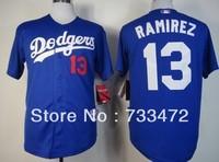 Free Shipping men's baseball jersey Los Angeles Dodgers 13 Hanley Ramirez Blue White Gray Jersey  Factory Price