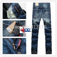28-36#Blue#KPDG975,2014 Italian Famous Designer Brand Ripped Jeans For Men,Warm Personality Motorcycle Torn Hole True Jeans Men