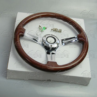 MOFE 3 Spokes Deep Dish 14 inch 350MM Wood Grain Classic Steering Wheel For Racing Car