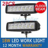 2PCS 18W FLOOD BEAM LED WORK OFFROADS LAMP LIGHT TRUCK BOAT 12V 24V 4WD 4x4 Driving Lights