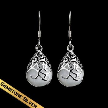 Special S925 Silver Water Drop Earrings Free Shippings White Opal Earring Hook For Women Girls ED141014