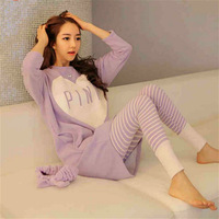 Free shipping  Long-sleeve autumn pure cotton white sleep set women's 100% long-sleeve cotton clothes at home set