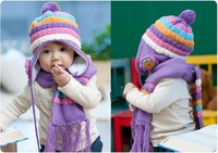 Warm Winter Baby Hat + Scarf/ Kid Hats Set Knitting Wool Cap 5 Colors Girls Cute Beanie Wholesale Free Shipping Christmas Gift