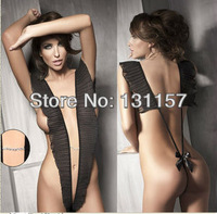 Free Shipping 2013 New Chiffon Sexy Lingerie Temptation Coveralls Open Pressure Fold Flounced Women Nightwear For Sex Products .