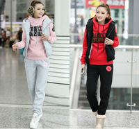 Free Shipping 2013 Winter Fashion Plus Large Three-piece Letter Suit Women leisure Hoodie Sportsuit thicken Sweatershirt S-XXXL