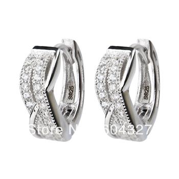 Бесплатная доставка -- новый серебряные серьги стильные ювелирные изделия микро-проложить обруч серьги 925 GNE0768