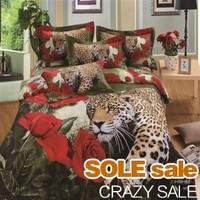 I lOVE YOU Rose Leopard 3D Bedding Sets, 3D Bed Cover, Cotton 3D Bedclothes,Queen King 3D Bed Linens Home Textiles