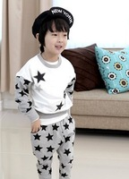 Fall Kid boys girls long-sleeved white cotton T-shirt spell color star pattern harem pants sportswear Children Set Free Shipping