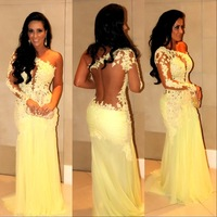 Hot Sale See Through Mermaid Dresses For Evening Party Lace Appliques 2014 New Vestidos Formales Gowns