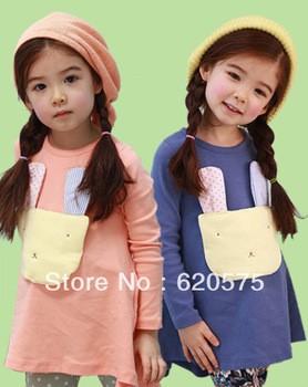 Girls Dress for 2014 Spring Autumn with Long Sleeves and Animal Decorated in Front Sweet Style with O-neck Free Shipping