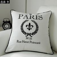 Wholesale Free Shipping! fashion line cotton 45cm*45cm Black & White Paris  pillow cushion covers car pillow