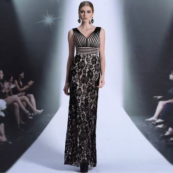 DORISQUEEN V neck floor length ready to wear New 2014 long dresses black lace straight silhouette party prom dresses 2014
