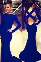 elegant2014 vestido azul con mangas piso de longitud oscuro negro con recorte Volver manga larga prom sirena vestidos de festa vestido longo(China (Mainland))