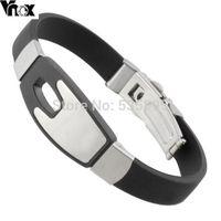 2014 New arrival men brand black silicone  bracelets bangles  jewelry wholesale