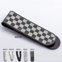 Stainless Steel MONEY CLIP Black Silver tone Grid Pattern money holder  KMM01