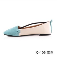 100% Real leather Mixed colors flat shoes Peas shoes oblique mouth sandals wholesale cow leather shoes ft5