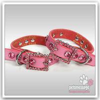 Retail Brand Collar Pet Product Bling Luxury Crystal Bone Charm Genuine Leather Pink Dog Collar Pet Collar ePacket Drop Shipping