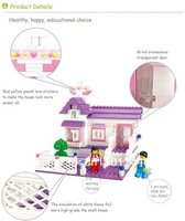Wholesales retail Sluban Building Blocks Enlighten Girls Toy/Purple Sweet hut 193pieces/2 minifigures compatible with lego