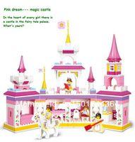 Wholesale retail Sluban Enlighten Brick Blocks/Christmas Toys Girls /Pink Dream Magic Castle 385pieces/Minifigures 4pieces