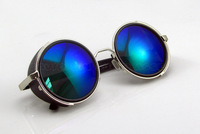 10pcs/lot 2014 New Steampunk Round Sunglasses Designer Fashion steam punk Metal Oculos women Glasses Men Retro CIRCLE gafas 2004