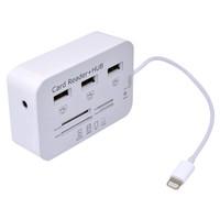 2014 Newest  8 pin 3 Port USB Hub Micro SD TF Card Reader Camera Connection Combo Kit Adapter for iPad Mini ipad 4,Free shipping