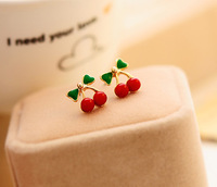 0182 Min. order $10 (mix order) Free shipping New arrival delicate sweet red cherry Ear stud earrings for lady