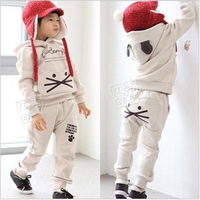 pocket cat kids casual clothing sets outerwear fall fashion outfits for boys and girls sweatshirt set 006
