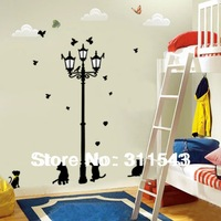 Popular Ancient Lamp Cats and Birds wall stickers for kids room decals art wallpaper home decoration Wholesale k003