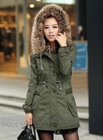 2013 Women's Trench Coat Detachable Slim Fit Trench Military Army Green&Khaki Color Lining Coats With Big Fur Hooded Coats nz148