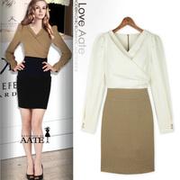 Dresses new fashion 2014 OL spring/winter women elegant office dress  long sleeve knee-length dress