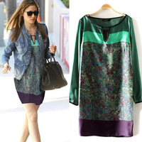 S M L Plus Size 2013 New Fashion Vintage Printed Long Sleeve Autumn Chiffon Casual Dress JS001