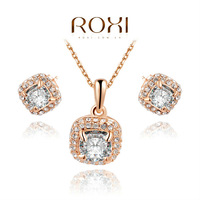 ROXI Fashion discount Austrian crystal rose gold necklace+earrings with AAA zircon, Chrismas gift ,women jewelry set,20700261150