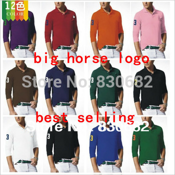 2013 new fashion men's shirt classic polo shirt brand long sleeve shirt big horse logo 15 colors L-XXL 3365 retail/wholesale