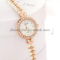 Free shipping Fashion Charm White Pearl Bracelet Rose Gold women rhinestone dress watches